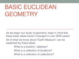Basic Euclidean Geometry