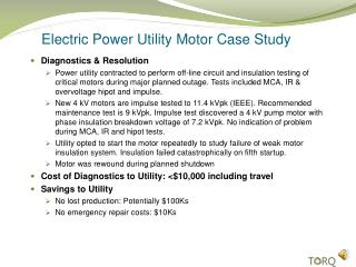 Electric Power Utility Motor Case Study