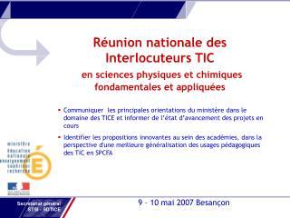 9 – 10 mai 2007 Besançon