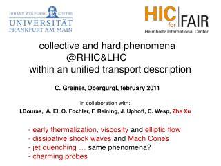 in collaboration with: I.Bouras, A. El, O. Fochler, F. Reining, J. Uphoff, C. Wesp, Zhe Xu