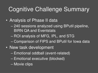 Cognitive Challenge Summary