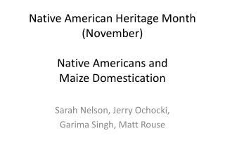 Native American Heritage Month (November) Native Americans and  Maize Domestication