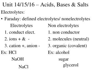 Unit 14/15/16 – Acids, Bases & Salts
