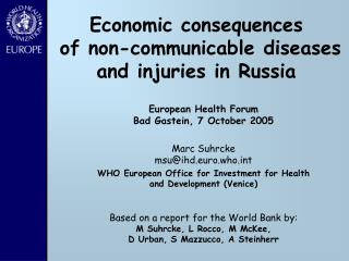 Economic consequences  of non-communicable diseases and injuries in Russia