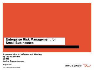 Enterprise Risk Management for Small Businesses