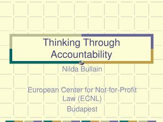 Thinking Through Accountability