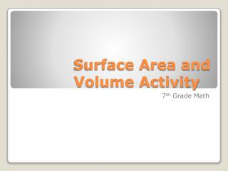 Surface Area and Volume Activity