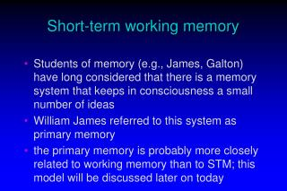 Short-term working memory