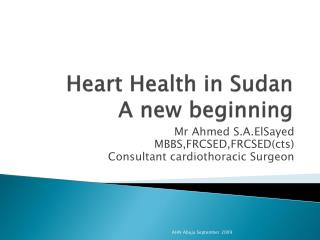 Heart Health in Sudan A new beginning