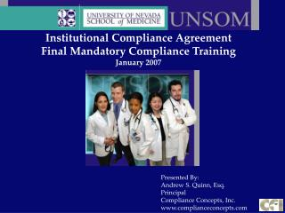 Institutional Compliance Agreement  Final Mandatory Compliance Training January 2007