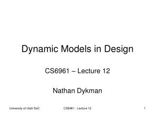 Dynamic Models in Design