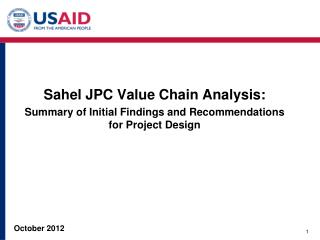 S ahel JPC Value Chain Analysis: