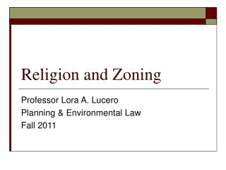 Religion and Zoning