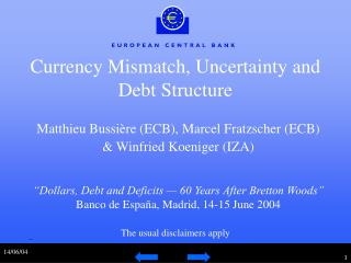 Currency Mismatch, Uncertainty and Debt Structure