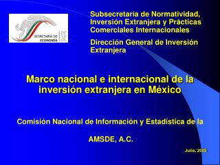 Marco nacional e internacional de la inversión extranjera en México