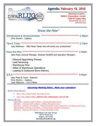 NWA Retail Link User Group 1004 N Oriole Ave Rogers, AR 72756 Secretary@nwaRLUG