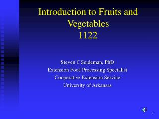 Introduction to Fruits and Vegetables 1122