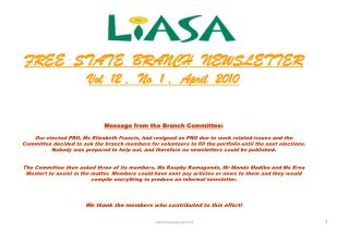 FREE  STATE  BRANCH  NEWSLETTER Vol  12 ,  No  1 ,  April  2010