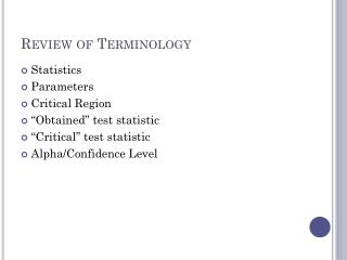 Review of Terminology