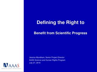Defining the Right to Benefit from Scientific Progress
