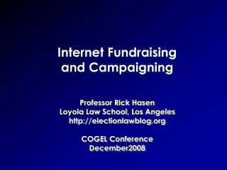 Internet Fundraising and Campaigning