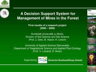 A Decision Support System for Management of Mires in the Forest
