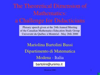 The Theoretical Dimension of Mathematics: a Challenge for Didacticians
