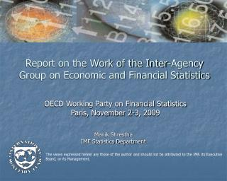 Report on the Work of the Inter-Agency Group on Economic and Financial Statistics
