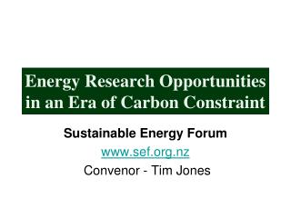 Energy Research Opportunities in an Era of Carbon Constraint