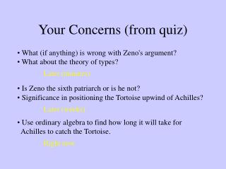 Your Concerns (from quiz)