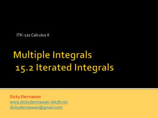 Multiple Integrals  15.2 Iterated Integrals
