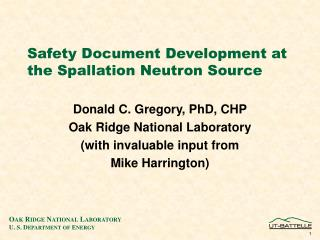Safety Document Development at the Spallation Neutron Source