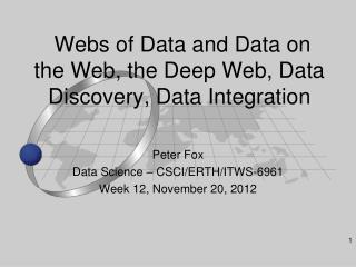 Webs of Data and Data on the Web, the Deep Web, Data Discovery, Data Integration