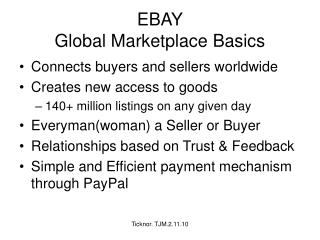 EBAY Global Marketplace Basics