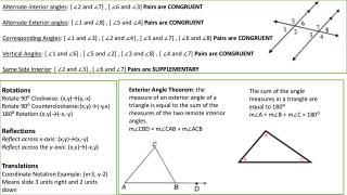 Rotations Rotate 90⁰ Clockwise: ( x,y )→(y,-x) Rotate 90⁰ Counterclockwise:( x,y )→(- y,x )