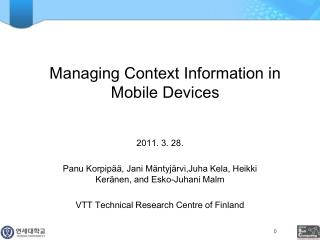 Managing Context Information in Mobile Devices