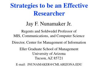 Strategies to be an Effective Researcher