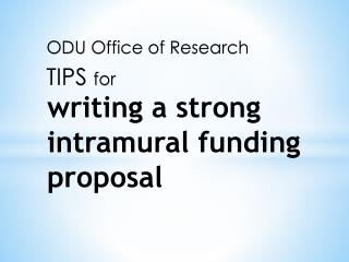 writing  a strong intramural funding proposal