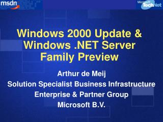 Windows 2000 Update & Windows .NET Server Family Preview