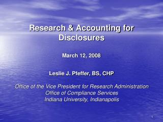 Research & Accounting for Disclosures March 12, 2008