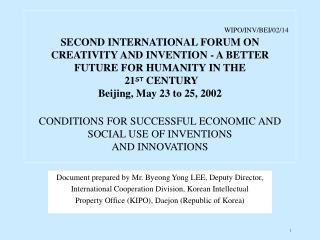 Document prepared by Mr. Byeong Yong LEE, Deputy Director,