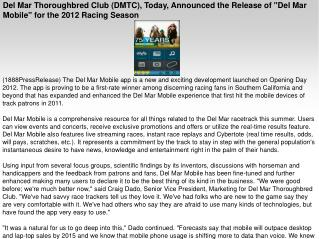 Del Mar Thoroughbred Club (DMTC), Today, Announced the Relea