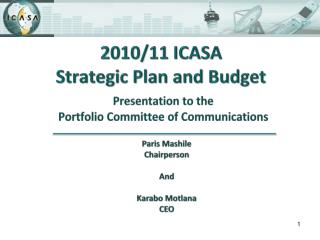 2010/11 ICASA  Strategic Plan and Budget