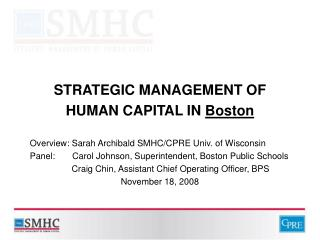 STRATEGIC MANAGEMENT OF HUMAN CAPITAL IN Boston