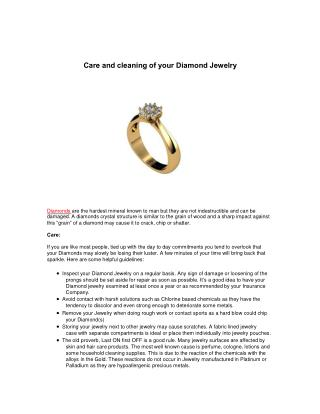Care and cleaning of your Diamond Jewelry