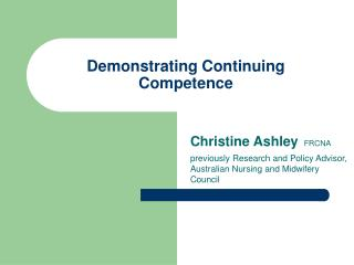 Demonstrating Continuing Competence
