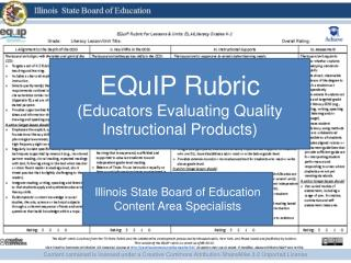 EQuIP  Rubric (Educators Evaluating Quality Instructional Products)