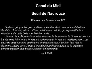 Canal du Midi Seuil de Naurouze D'après Les Promenades AVF