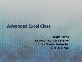 Advanced Excel Class