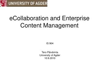 eCollaboration and Enterprise Content Management
